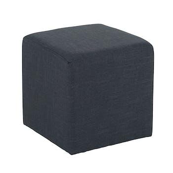 Pouf cube tissu anthracite STONE