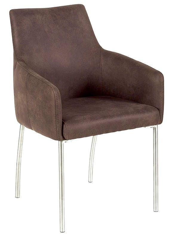 Chaise de repas accoudoir microfibres marron pieds inox