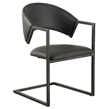 Chaise avec accoudoirs tissu microfibres gris et pieds métal noir 53x81x54cm