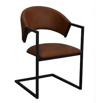 Chaise avec accoudoirs tissu microfibres choco et pieds métal noir 54x81x56cm