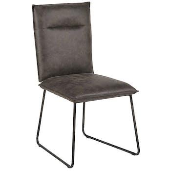 Chaise en tissu microfibres gris et pieds métal noir 48x90x60cm