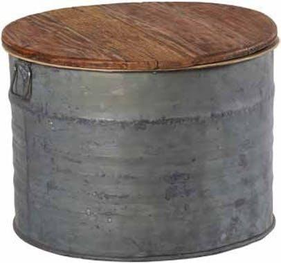 Table basse ronde en zinc et plateau en teck D62xH44cm