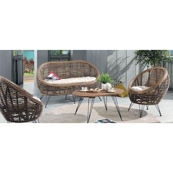Table basse en manguier et pieds métal rustique mat 91x52x45cm CANADA