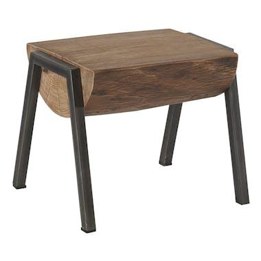 Tabouret façon bûche en bois et pieds métal 54x45x46cm CANADA