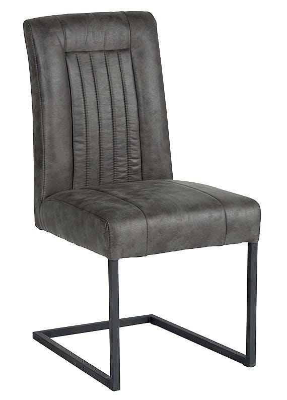 Chaise en tissu microfibres gris et pieds métal noir 47x64x93cm