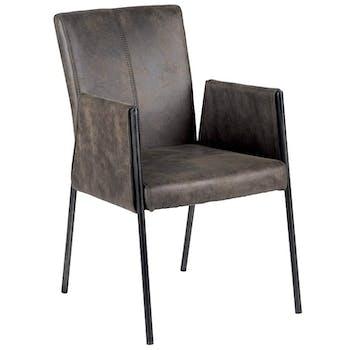 Chaise fauteuil avec accoudoirs tissu microfibres gris et pieds métal noir 52x65x86cm