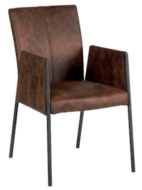 Chaise fauteuil avec accoudoirs tissu microfibres havane et pieds métal noir 52x65x86cm