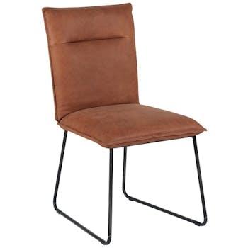 Chaise recouvrement cuir havane et pieds métal noir 48x60x90cm