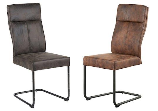Chaise en tissu microfibres gris et pieds métal noir 45x61x99cm