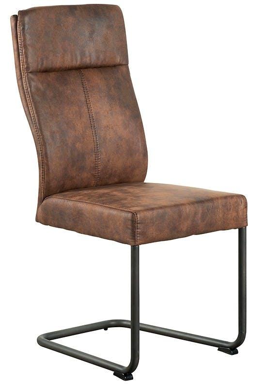 Chaise en tissu microfibres havane et pieds métal noir 45x61x99cm