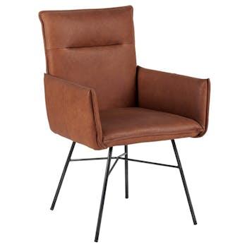 Chaise fauteuil recouvrement cuir havane et pieds métal noir 59x60x90cm