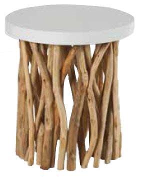 Table basse ronde plateau laqué et pied branchage teck finition naturelle D45cm H49cm