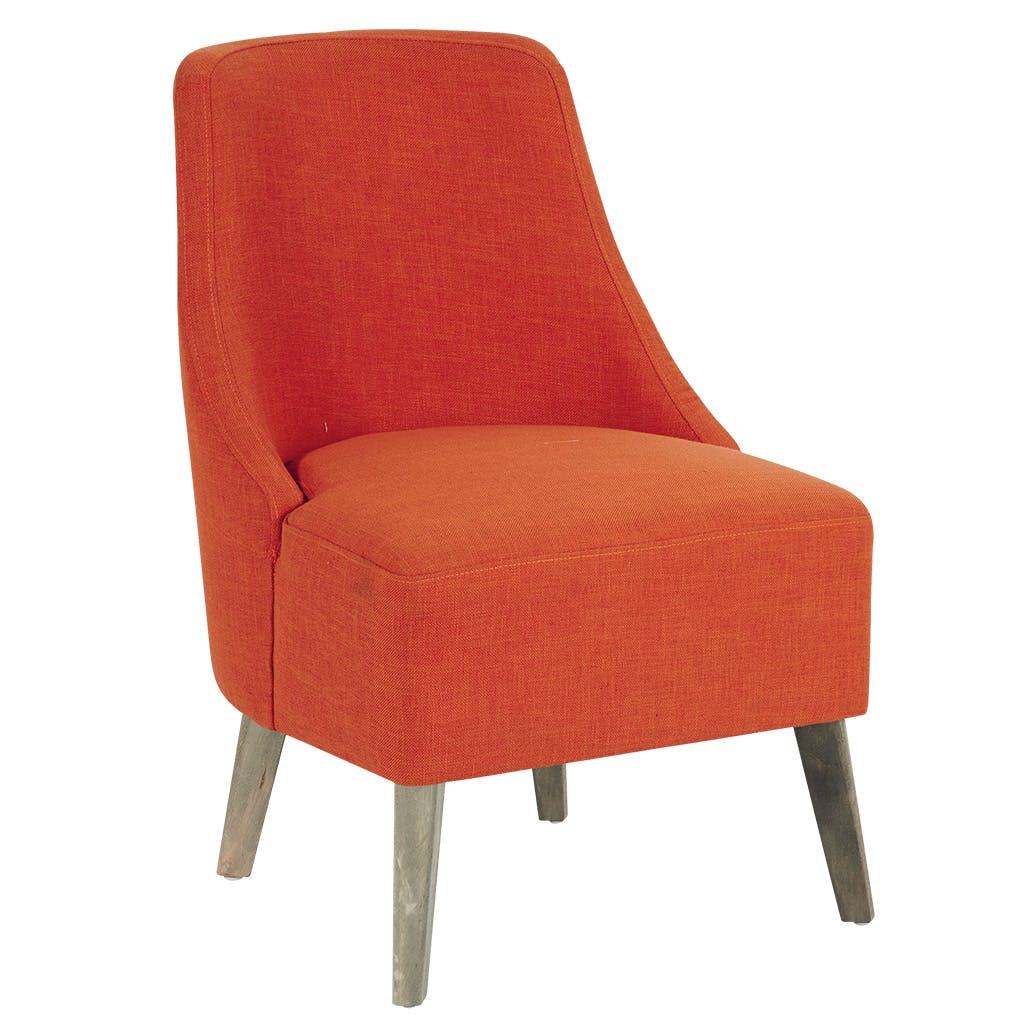 Fauteuil club tissu orange et pieds bouleau gris antique 53x63x80cm ROAD