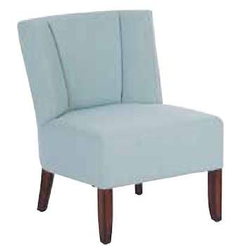 Fauteuil crapaud tissu bleu et pieds cèdre 58x59x69cm CROC