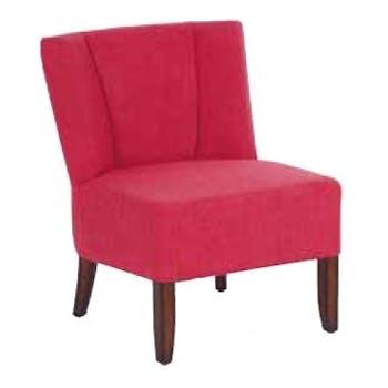 Fauteuil crapaud tissu rose et pieds cèdre 58x59x69cm CROC