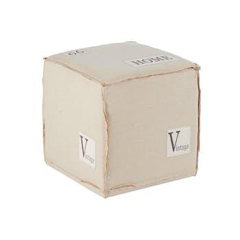 """Pouf cube """"Home"""" tissu écru 42x42x43cm LYNE"""