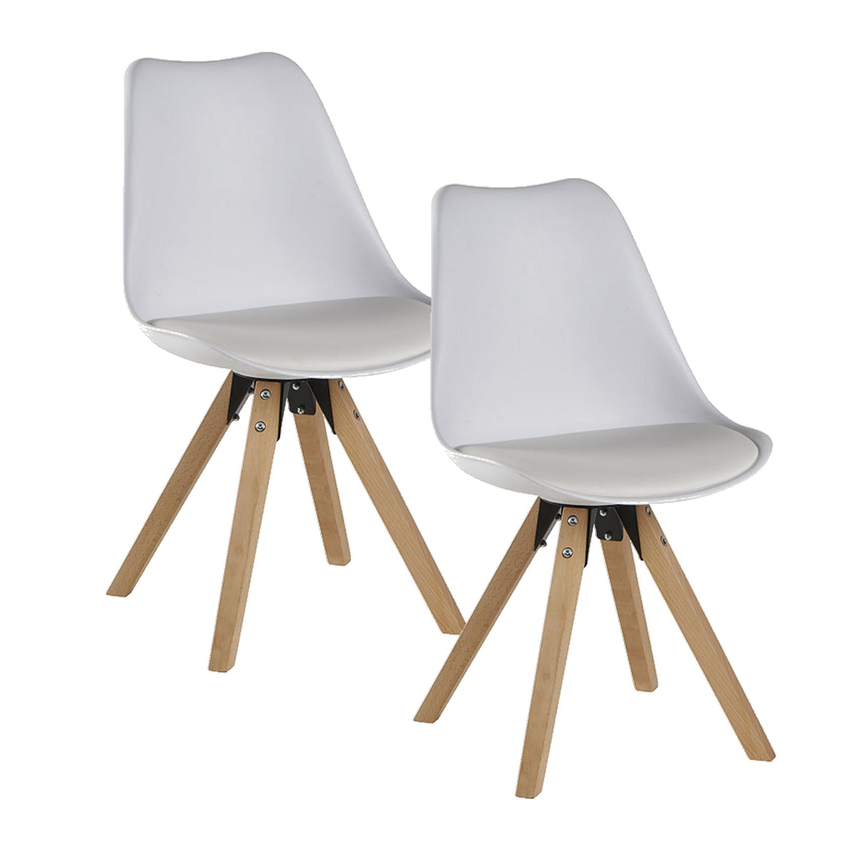 Chaise scandinave blanche TONY (lot de 2)
