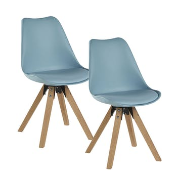 Chaise scandinave bleue TONY (lot de 2)