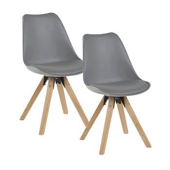 Chaise scandinave grise TONY (lot de 2)