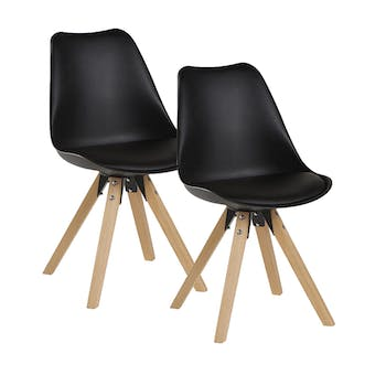 Chaise scandinave noire TONY (lot de 2)
