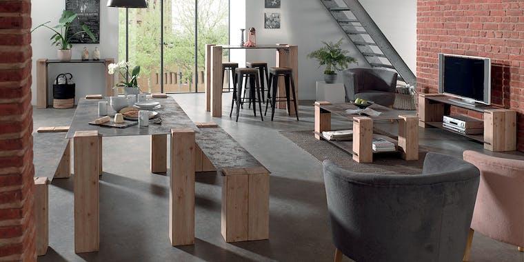 Table basse industrielle nordique version 2 ACTUS