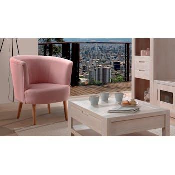 Fauteuil Cabriolet tissu Microfibres rose pâle et pieds Hévéa massif 81x75x70cm RONAL