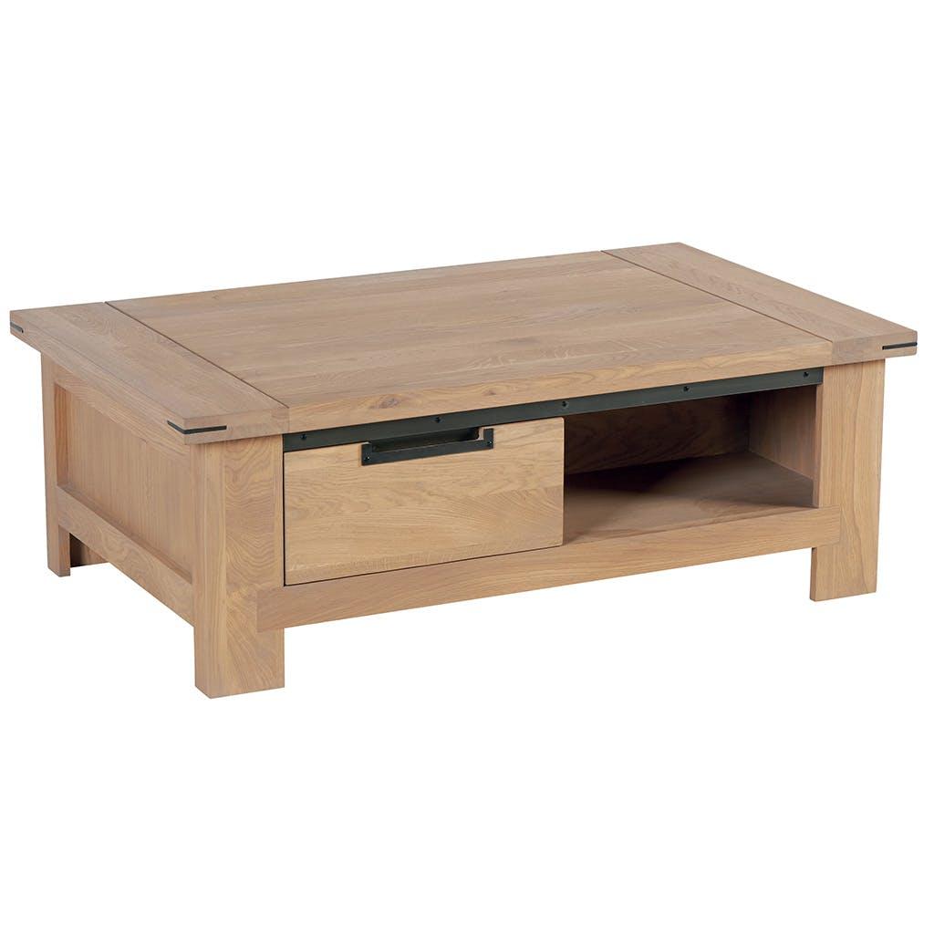 Table basse Chêne ciré et métal patiné 1 tiroir 115x70x40cm CUBA
