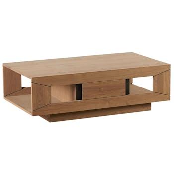 Table basse Chêne ciré et métal patiné double plateaux, 1 tiroir 115x65x36cm DARIO