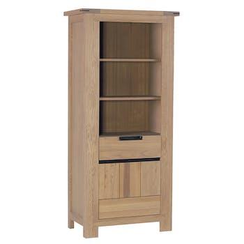 Bibliothéque / Colonne Chêne ciré et métal patiné 1 porte, 1 tiroir, 3 étagères ouvertes 84x45x180cm CUBA