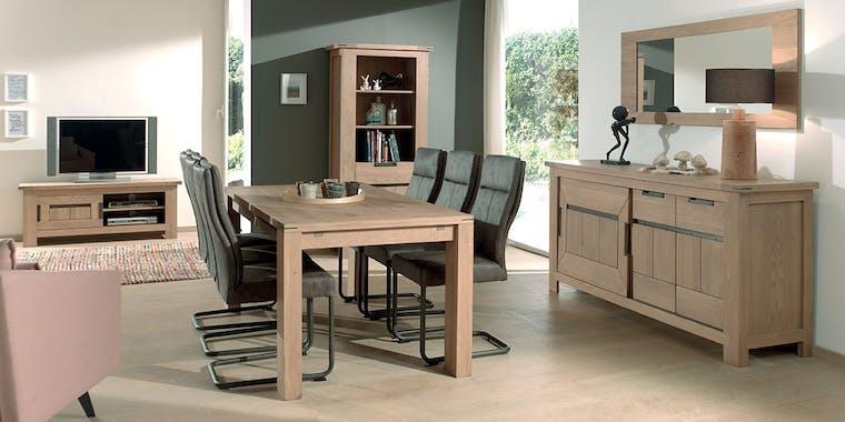 Table à manger extensible bois 140-185 CUBA (1 rallonge)