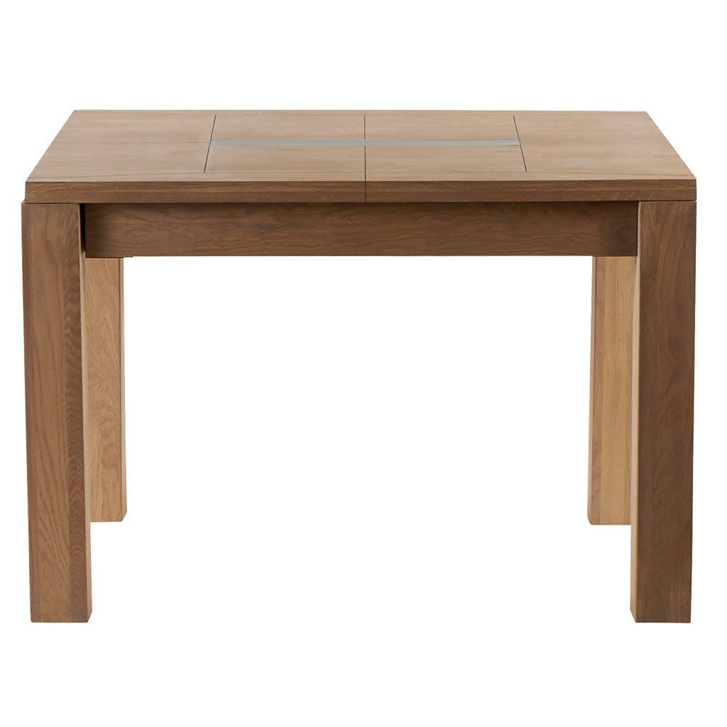 Table de repas extensible Chêne ciré et métal patiné 140x140x76cm DARIO