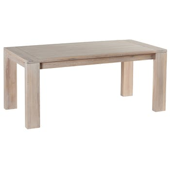 Table de repas Chêne massif ciré blanchi 180x90x77cm MANILLE