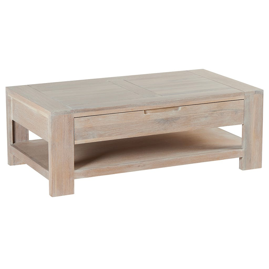 Table basse Chêne massif ciré blanchi double plateaux, 1 tiroir 110x60x39cm MANILLE
