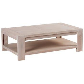 Table basse Chêne massif ciré blanchi double plateaux 120x70X39cm MANILLE