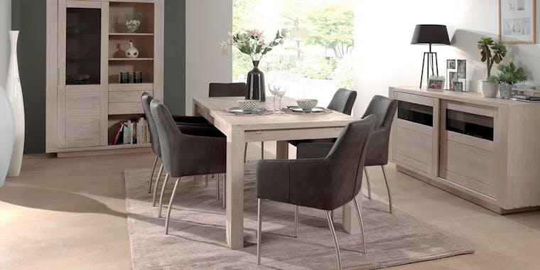 Table de repas extensible Chêne massif ciré blanchi 140x140x77cm MANILLE