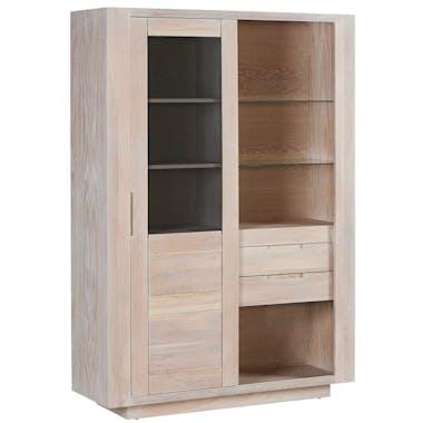 Vitrine Chêne massif ciré blanchi 1 porte coulissante vitrée fumée, 2 tiroirs, 2 étagères, 1 niche 125x42x180cm MANILLE