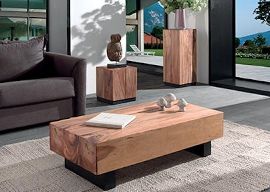 Sellette / Bout de canapé Inspiration exotique en bois de Suar et pieds noir 40x40xH45cm CANADA