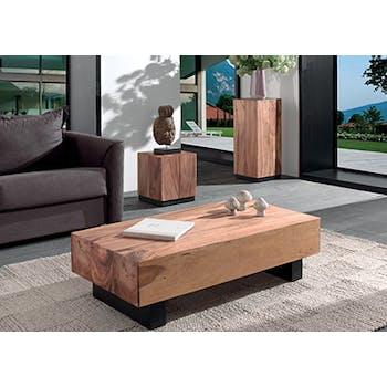 Table basse Inspiration exotique en bois du Suar et 4 pieds noirs 130x65,5x38cm CANADA