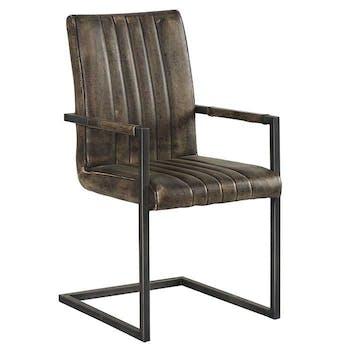 Chaise en PU gris aspect vieilli polishé Vintage avec accoudoirs et pieds métal noir 52x62,5x96cm EPIKA