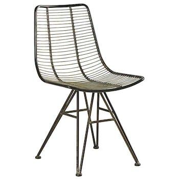 Chaise industrielle métal filaire couleur ambre VULCAN