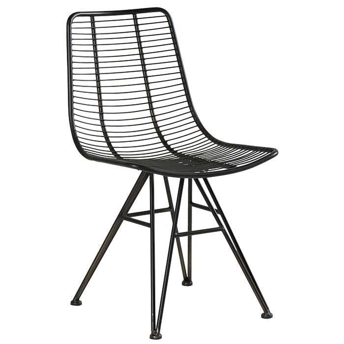 Chaise industrielle métal noir filaire VULCAN