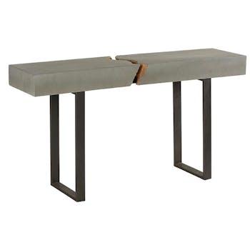 Console Art-Déco en bois aspect béton avec métal au centre et piètement métal 155x40x83cm