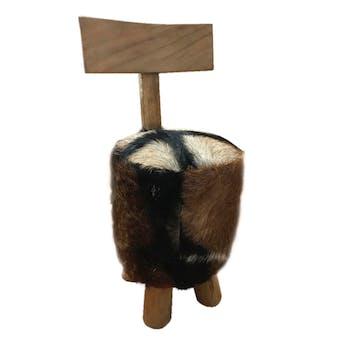 Pouf Tabouret avec dossier en racine de Teck et revêtement naturel 30x33,5x71cm CANADA