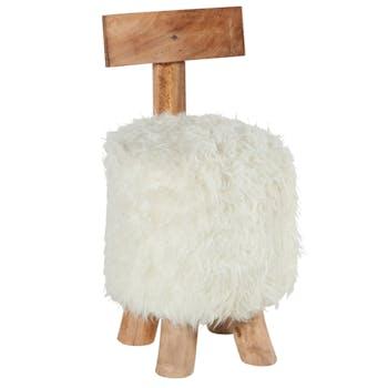Pouf Tabouret avec dossier en bois de Suar naturel et assise en fourrure synthétique blanche D37xH71cm CANADA