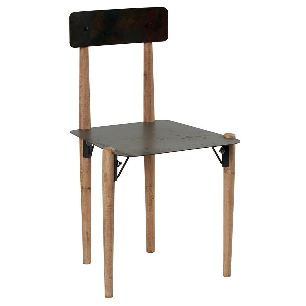 Chaise en métal et pieds bois massif 48x47x83cm VULCAN