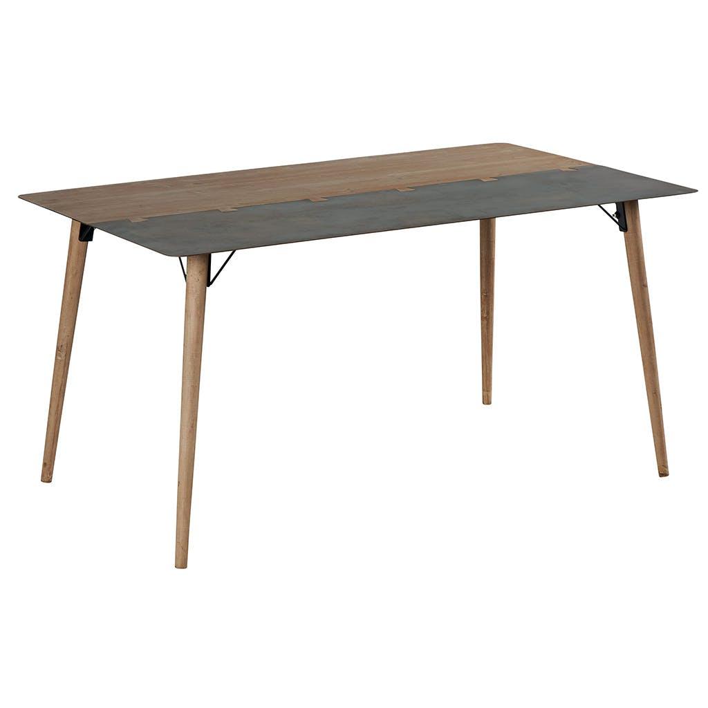 Table de repas 1m80 en métal plaqué sapin massif et métal, et pieds bois massif 180x90x76 VULCAN