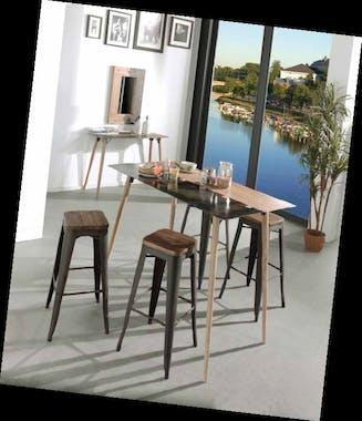 Table de repas carrée 70cm en métal plaqué sapin massif et métal, et pieds bois massif 70x70x75cm VULCAN