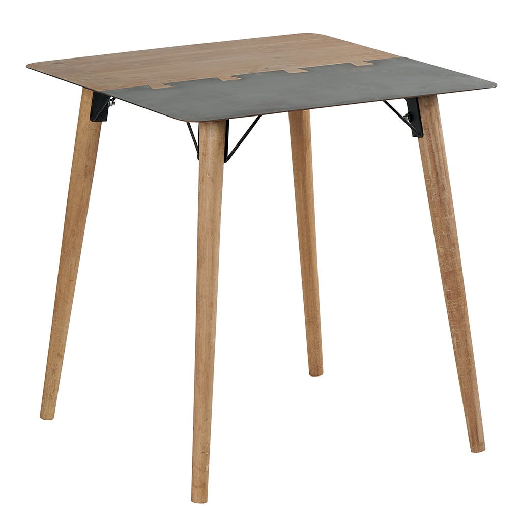 Table de repas carrée 80cm en métal plaqué sapin massif et métal, et pieds bois massif 80x80x75cm VULCAN