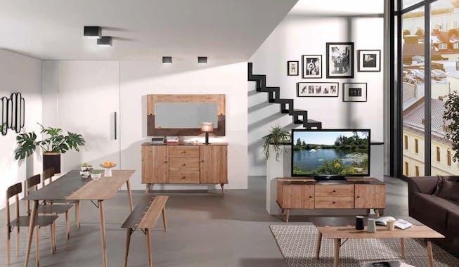 Table haute mange-debout 1m40 en métal plaqué sapin massif et métal, et pieds bois massif 140x80x105cm VULCAN