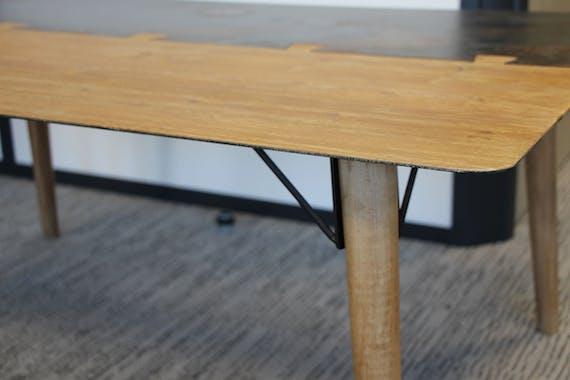 Table haute mange-debout 1m80 en métal plaqué sapin massif et métal, et pieds bois massif 180x60x105cm VULCAN